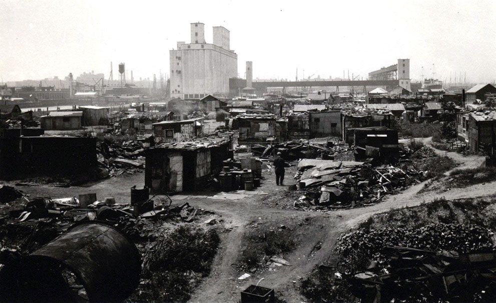 A Hooverville in Brooklyn, ca. 1930-1932. The area is now Red Hook Park in Brooklyn. (Courtesy NYC Municipal Archives) #