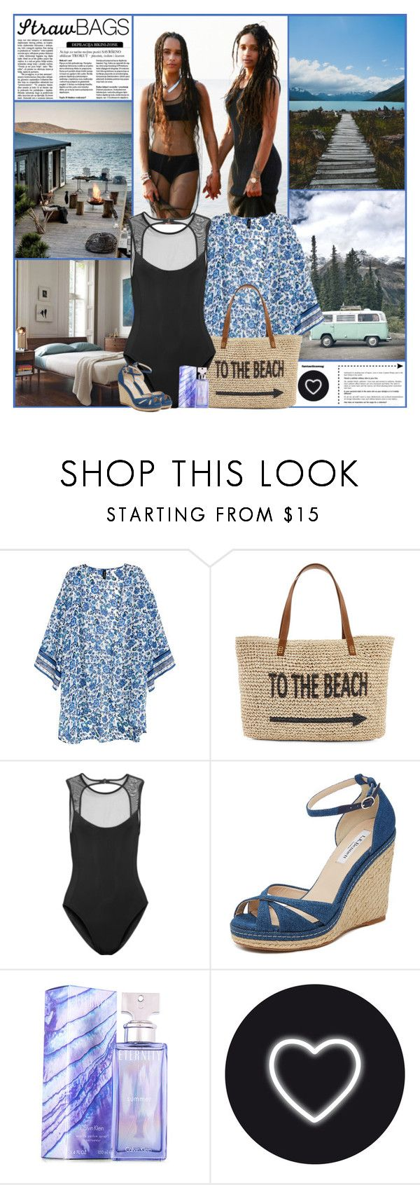 """Carry On: Straw Bags"" by kittyfantastica ❤ liked on Polyvore featuring H&M, Straw Studios, Beth Richards, L.K.Bennett, Calvin Klein, Seletti and bedroom"