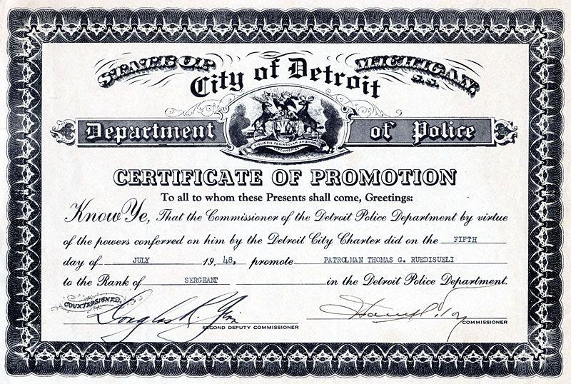 Certificate Of Promotion On July 15 1948 Patrolman Thomas G