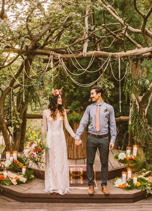 Simple Pretty Boho Wedding Ceremony Ideas