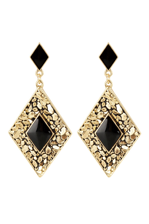 Oasis Jewellery Multi Black Textured Diamond Earrings