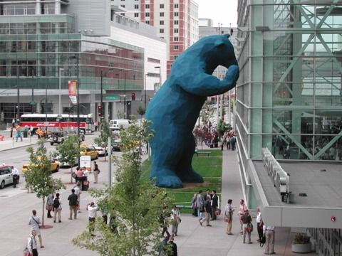 Denver S Blue Bear Spies Into The Convention Center
