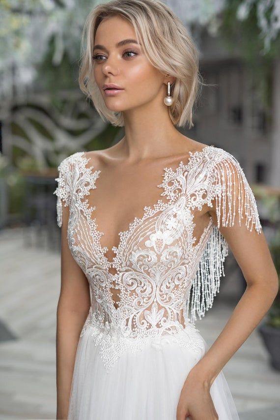 3d boho marfil vestido de novia boho mangas encaje tren bordado falda de tul vestido de novia elegante Corset abierto único 3d encaje sexy