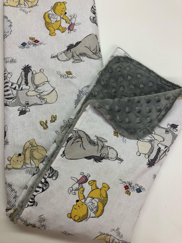 Winnie The Pooh Baby Blanket Gender Neutral Minky Blanket Lovey Nursery Bedding Shower Gift Poo Winnie The Pooh Nursery Neutral Baby Blankets New Baby Products