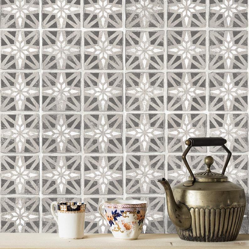 Modern Geometric Tile Stencil Tile Stencils Floor Wall Etsy In 2020 Stenciled Floor Geometric Tiles Tile Stencil
