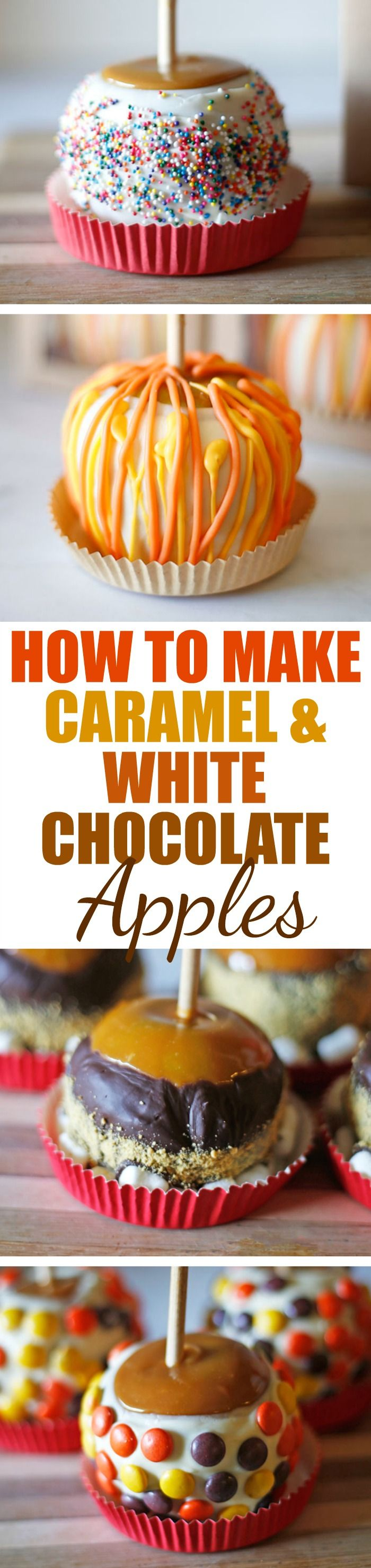 Gourmet Caramel and White Chocolate Apples | They're easier than you think to make at home & so very delish! Click over to Rose Bakes - I'll tell you how! #caramel #caramelapples #apples #recipes