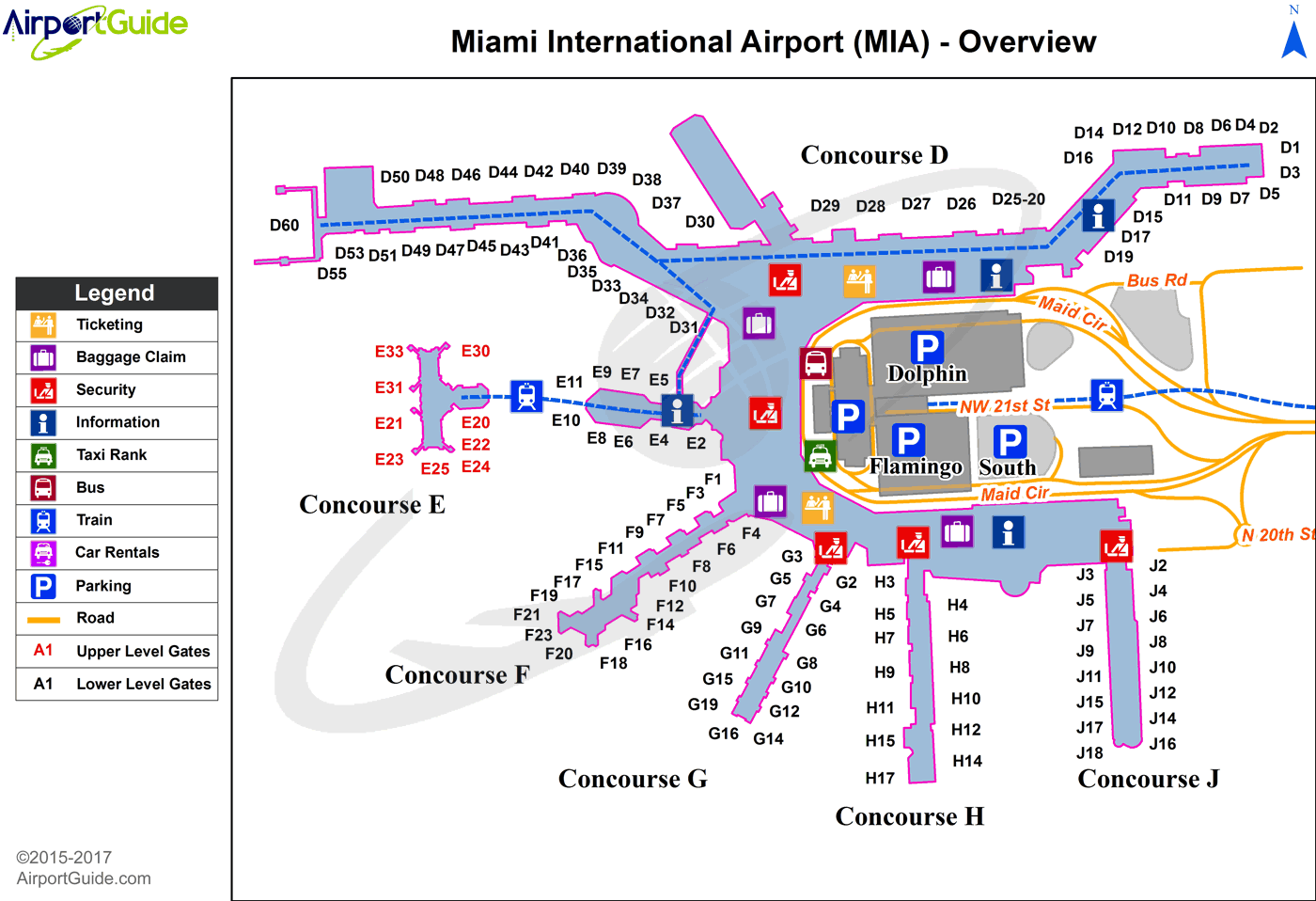 miami airport gate map Miami Miami International Mia Airport Terminal Map Overview Airport Map Airport Guide Airport miami airport gate map