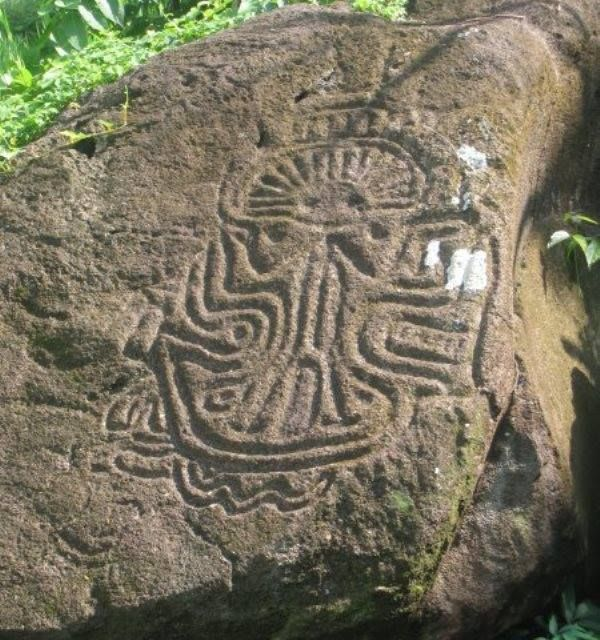 Nicaragua – Ancient stone carving on Ometepe, the dual volcano island.
