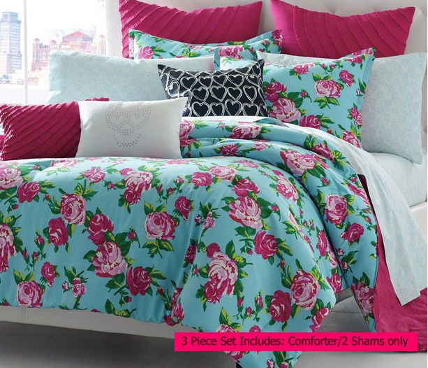 Betsey Johnson 3 Pc Queen Comforter Set Turquoise Pink Floral Reversible Bedding Kids Comforter Sets Reversible Bedding Kids Duvet Cover