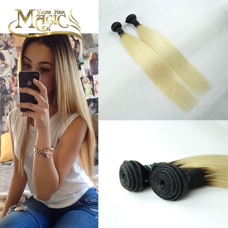 Ombre Peruvian Virgin Hair Silky Straight Human Hair Extension 2 Pcs