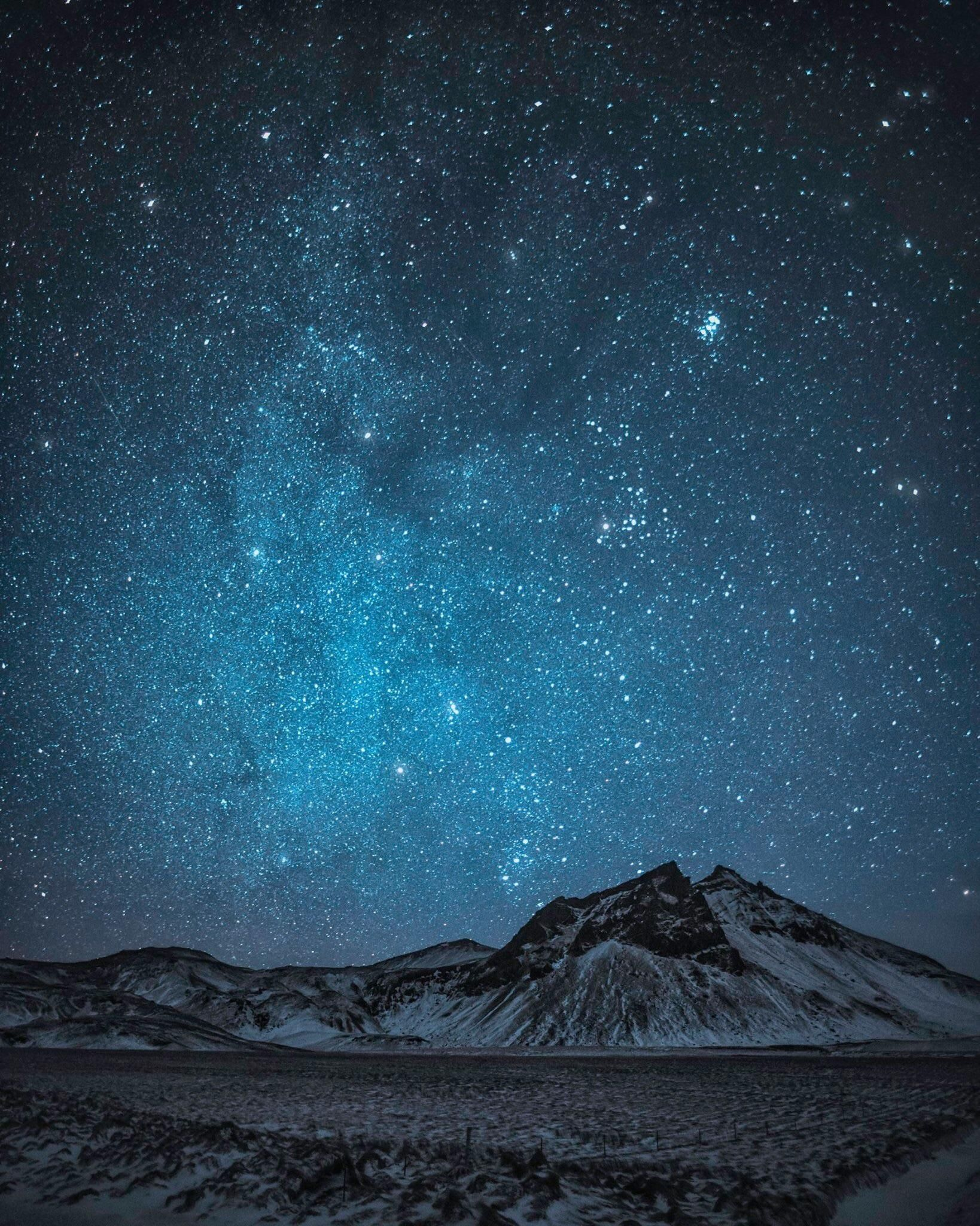 Starry Night Near Vik Iceland 1638x2048 Starry Night Black And White Landscape Night Photography
