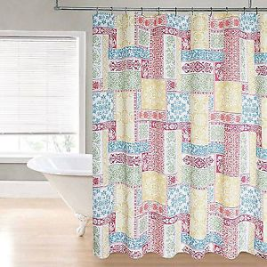 Regal Home Patchwork Fabric Shower Curtain Spice