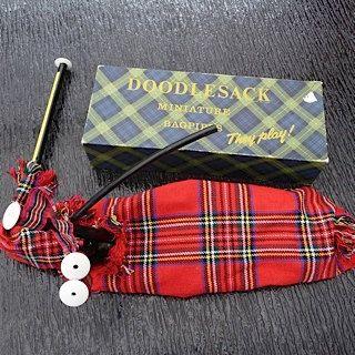 Red Plaid Miniature Dollhouse Cloth Shopping Bag