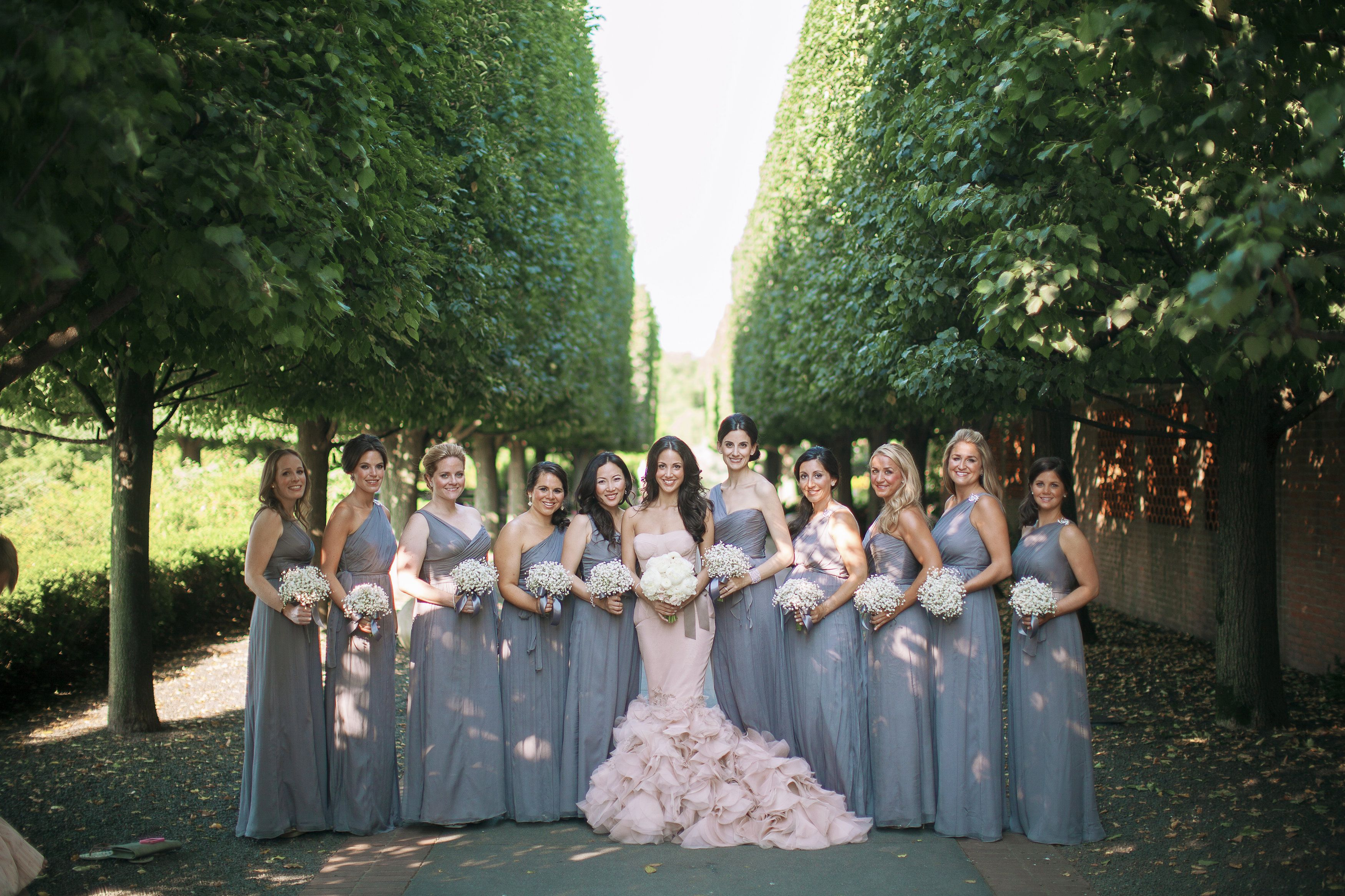 Wedding Wednesday Grey And Blush Bridal Party Amsale