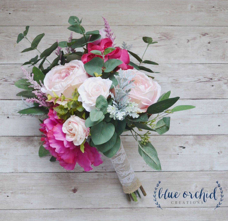 Pink Boho Bouquet with Eucalyptus, Silk Bouquet, Wedding Bouquet ...