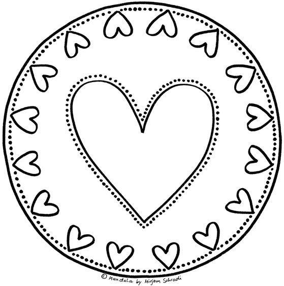 Mandalas zum Ausdrucken und Ausmalen Herz Mandala Mandalas