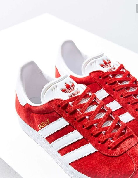 $80 Bright Red And White Adidas Gazelle Sneakers Spring Summer Shoe Trends  Tumblr. Running ...