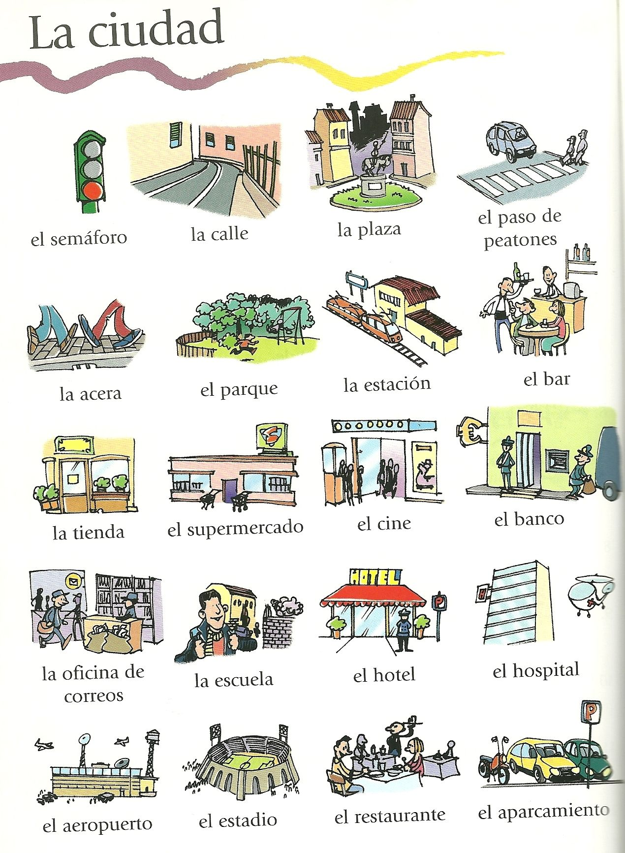 Vocabulario de la ciudad casa direcciones ciudad for Material de oficina en ingles