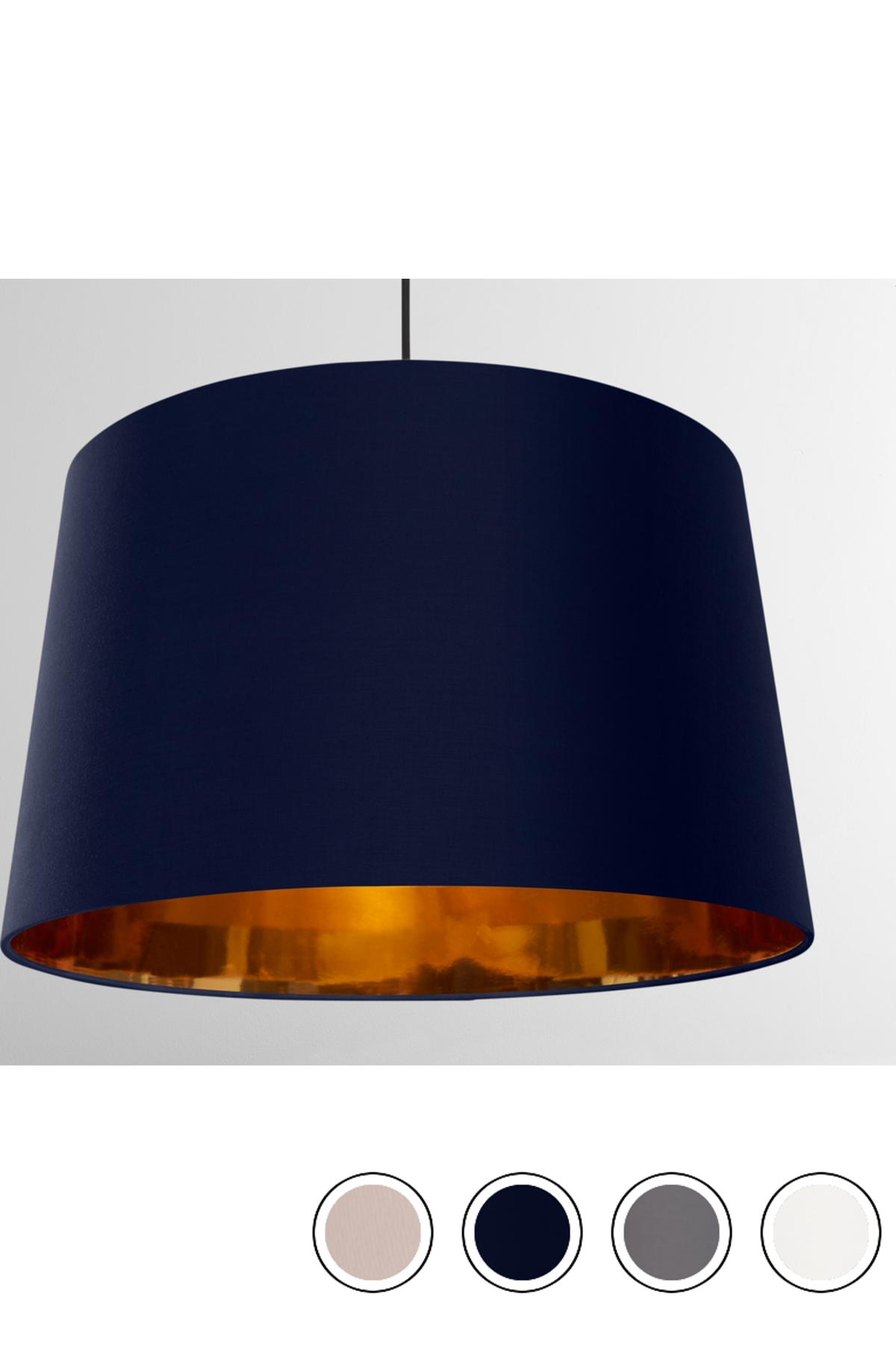 Oro Extra Large Tapered Pendant Drum Lamp Shade Navy And Copper Navy Copper Copper Pendant Lights Shades