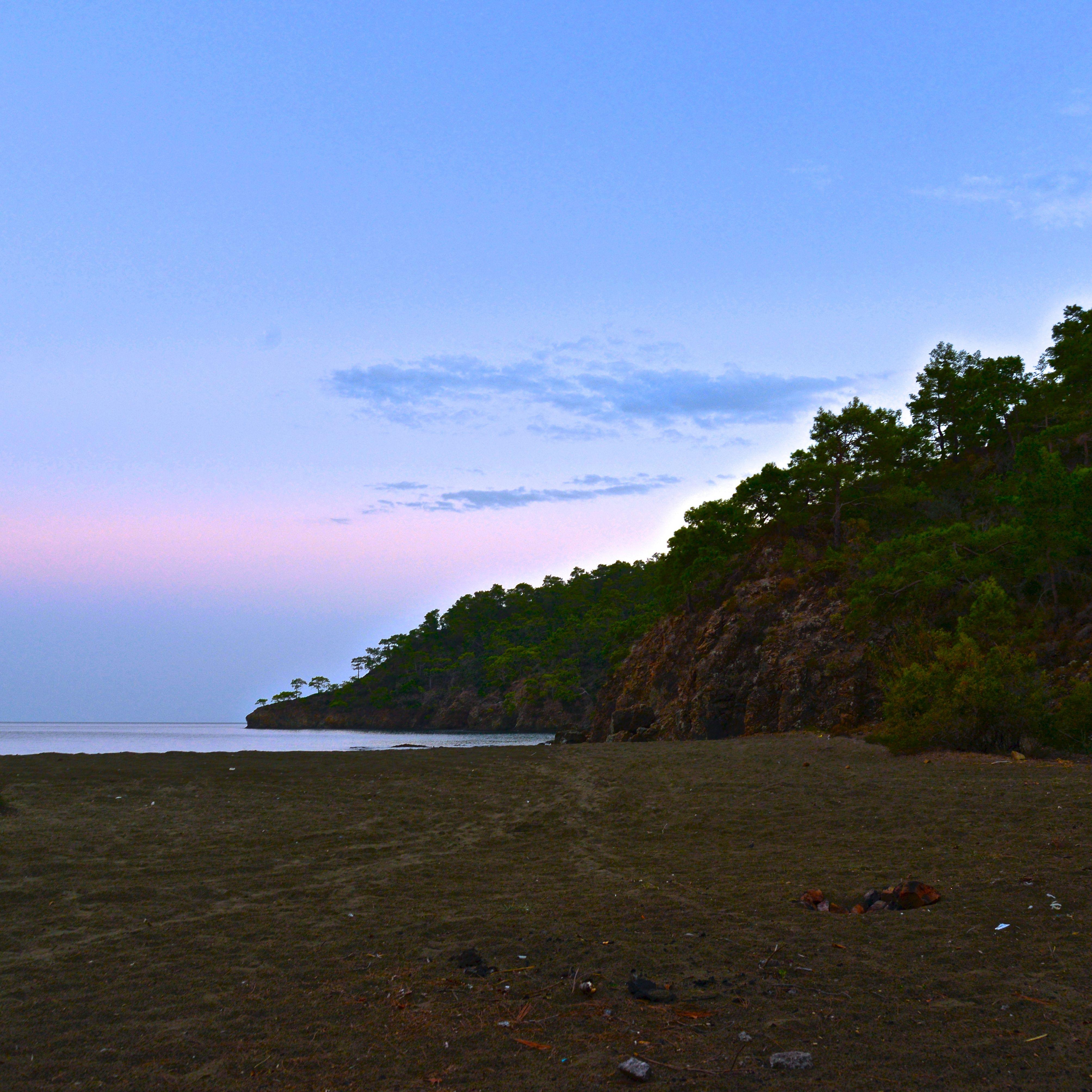 Beach at sunset at the Lycian way
