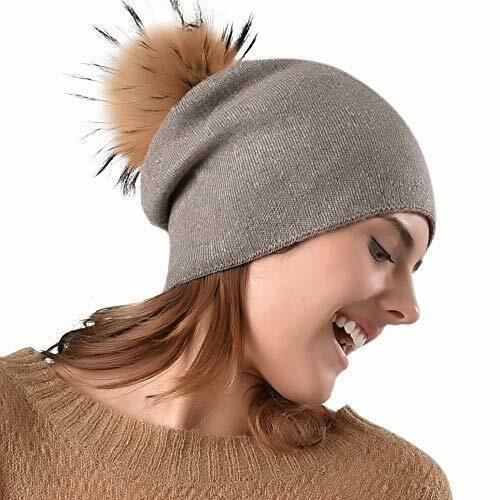 f698c3984e1 Womens Winter Knit Beanie Hat Slouchy Skull Cap Real Fur Pom Hats For Girls  Warm  FURTALK
