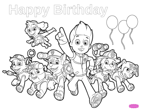 Paw Patrol Birthday Coloring Pages Paw Patrol Coloring