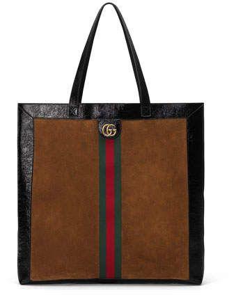 47a51a733cc24 Gucci Web-Trim Suede Double-G Tote Bag