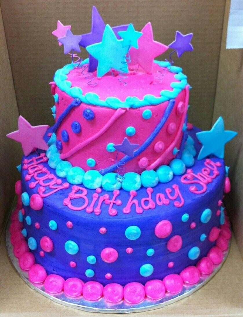 Fun Dots And Stars Birthday Cake Pretty Cakes Birthday