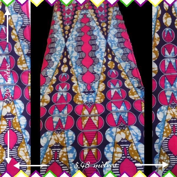 Rouleau Wax Hollandais Pagne Africain Superbe Wax Hollandais Motifs Africains Rose Et Bleu Des Couleurs Tres Belle Pour Ethnique Tissu Coton Motifs Africains