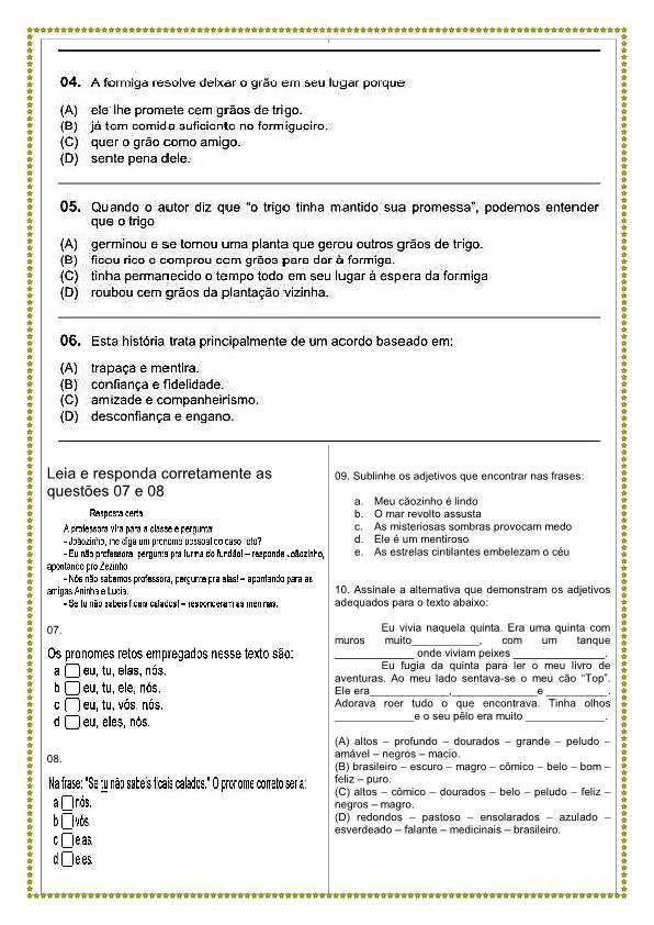 Avaliacao Portugues 3o Bimestre P2 Com Imagens Prova De