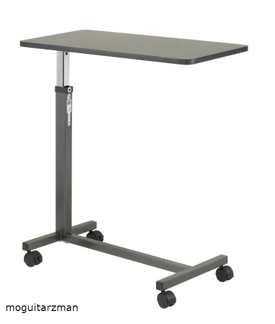 Attractive Adjustable Non Tilt Over Bed Side Food Tray Sturdy Mobile Medical Hospital  Table