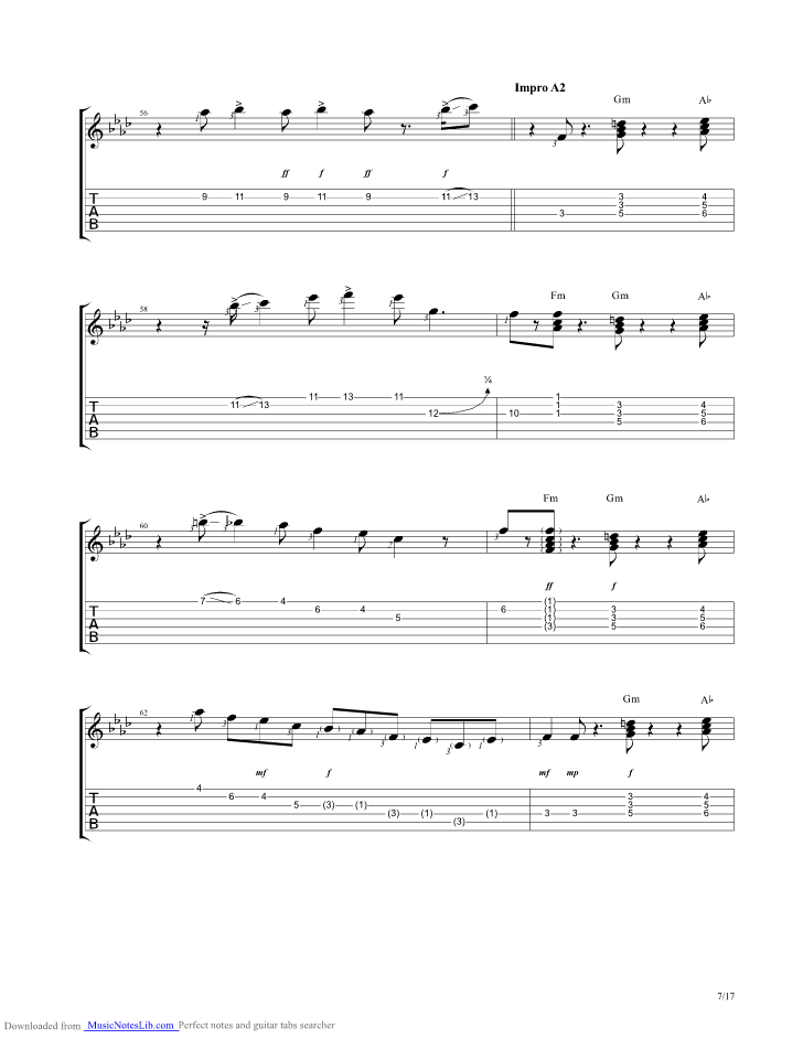 Midnight Blue guitar pro tab by Kenny Burrell