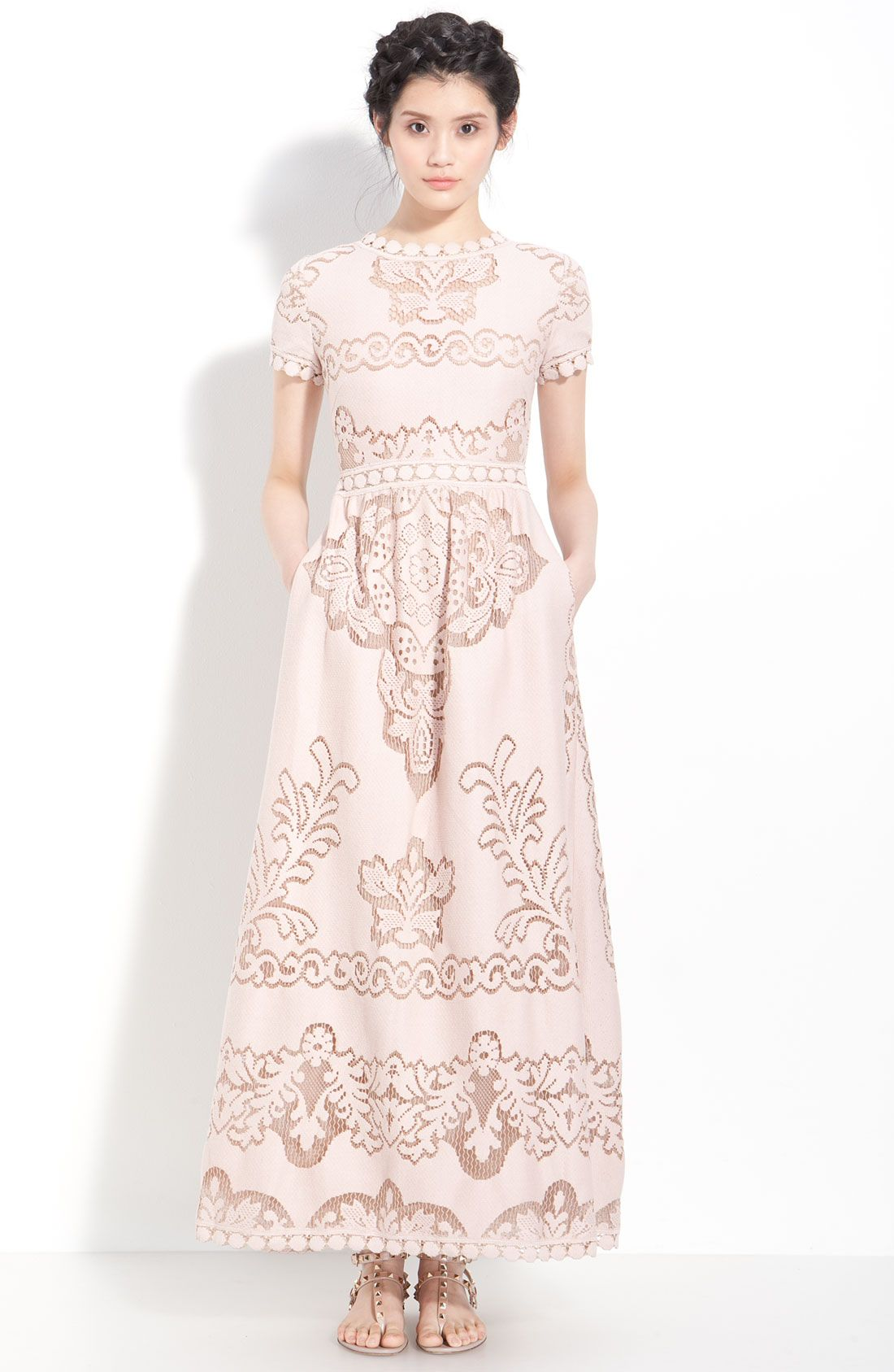 Valentino point de flandres lace gown bridal shower and rehearsal