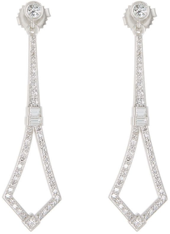Penny Preville 18k White Gold Art Deco Diamond Drop Earrings C4b3R8p