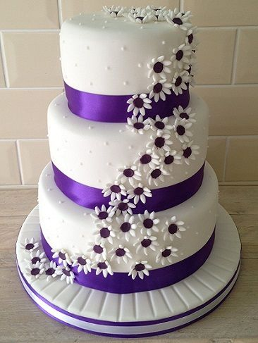 Beautiful White And Purple Wedding Cakes