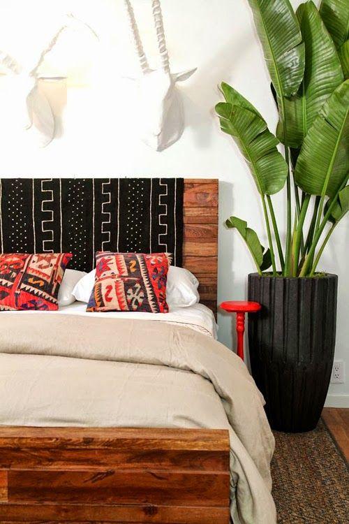 Dormitorio con hojas de platanero | Decoración interiores ...