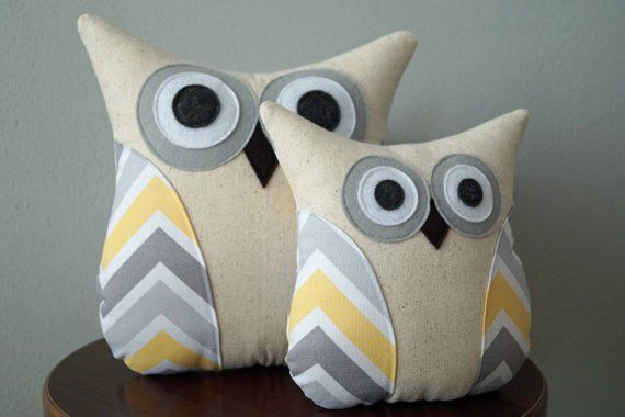 Owl Pillow - Nursery Decor - Grey, Yellow, White Chevron Pattern - Large or Small