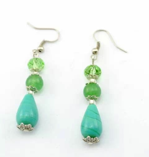 Greenbeads Mint Beaded Dangle Earrings tkIHwDf