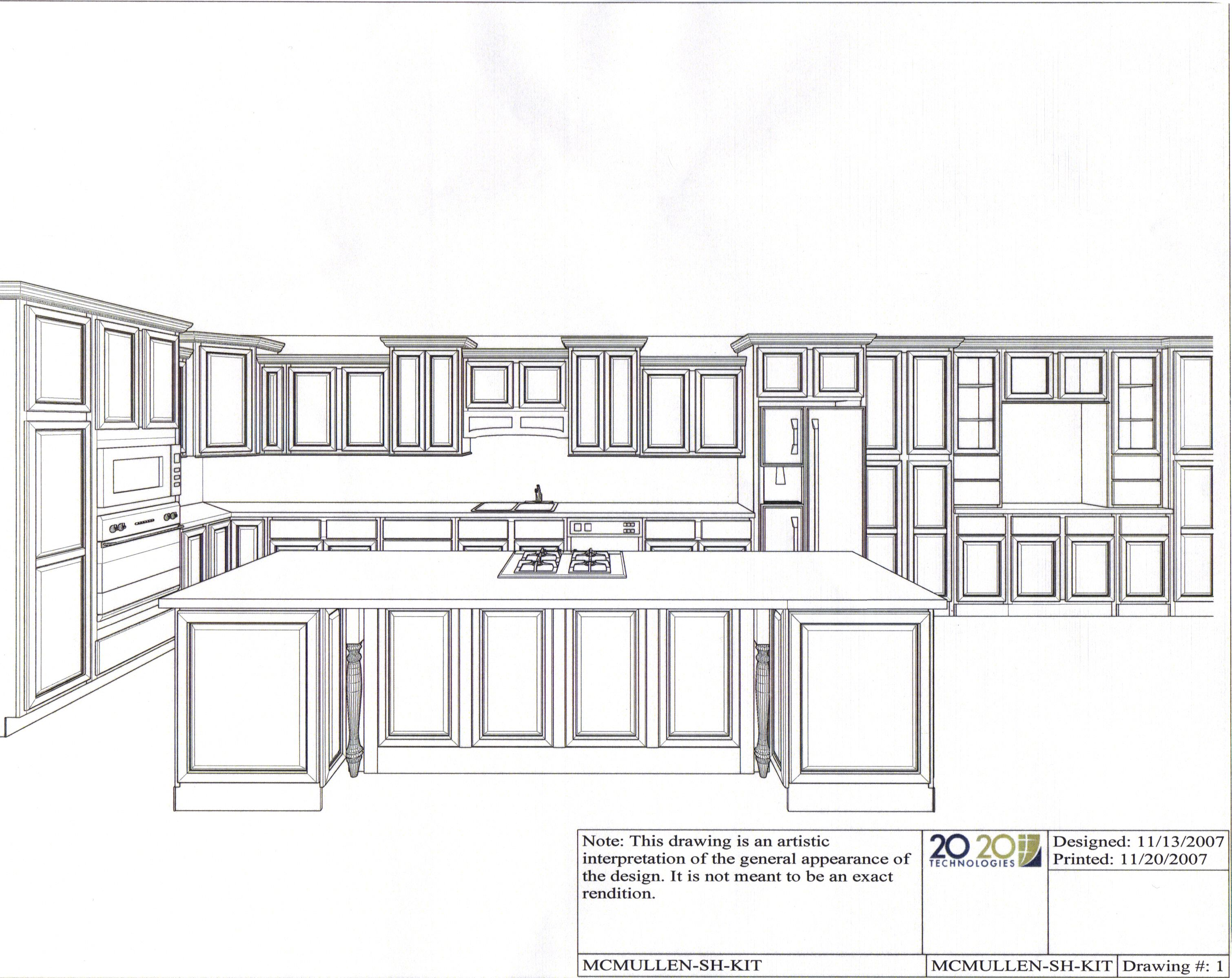 Kitchen Island Elevation kitchen elevation - 2 dimensional b&w drawing for client to get a