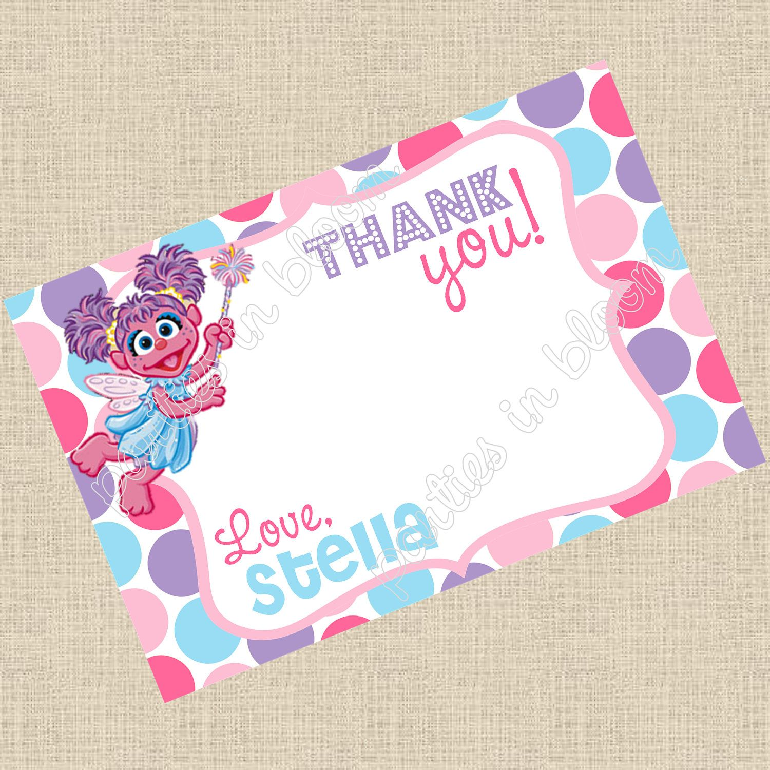 Printable DIY Abby Cadabby Inspired Thank You by PartiesInBloom ...