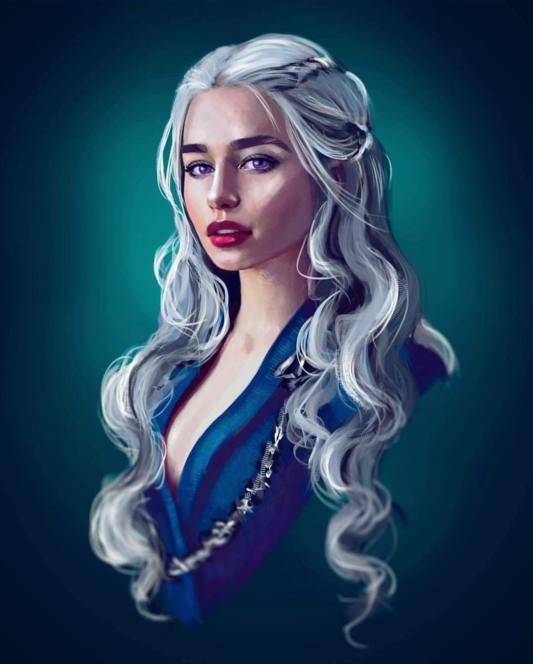Precise Game Of Thrones Deanerys Targaryen Original Art Jon Snow Dragons Emilia Clarke Collectibles