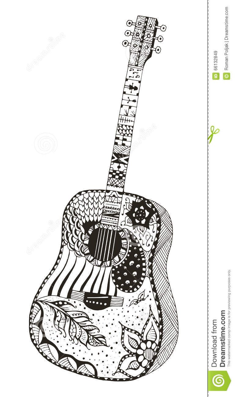 Download Acoustic Guitar Zentangle Stylized Stock Vector Illustration Of Hand Drawn 66132849 Doodle Art Designs Guitar Art Doodle Art Drawing