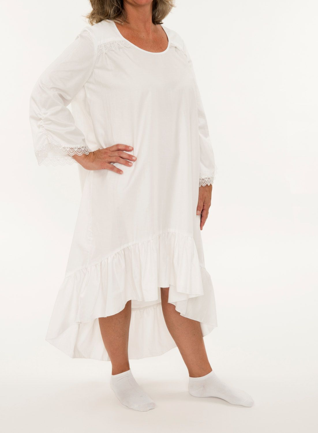 7a92f2dff0 Ladies Pure White Cotton Nightgown - Women s Hi-Low Pajama Dress - Light  Sleepwear For Her Misses Sleep Night Dress Feminine Prairie Classic by  PajamasNmore ...
