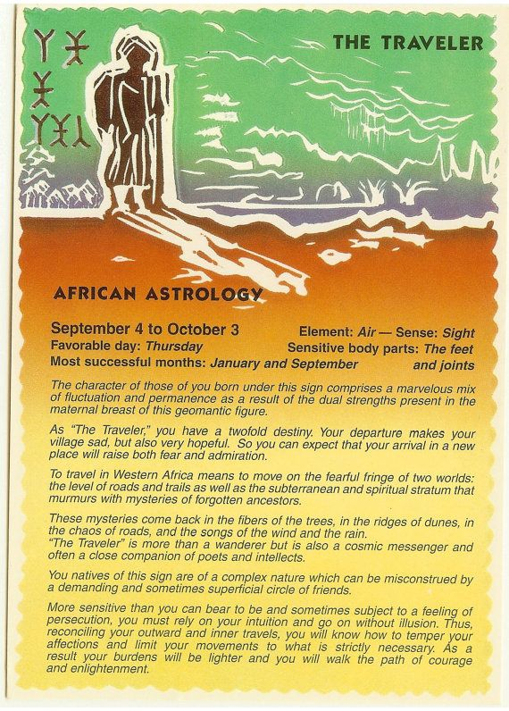 Zodiac Unlimited African Astrology Postcard The Traveler
