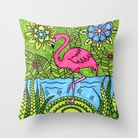 Throw Pillow featuring Pink flamingo by FridaSofia