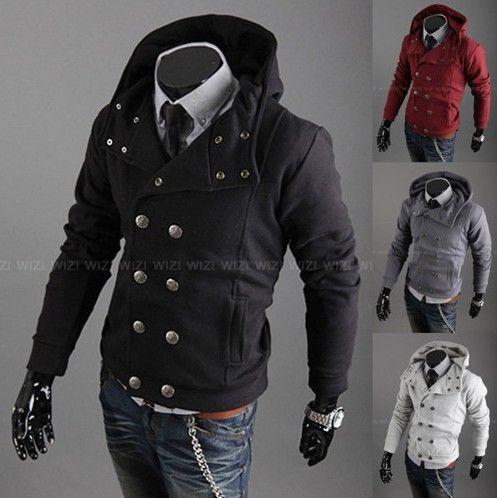 Men's Stylish Casual Jackets double Pea Coats Hoodie XS S M ...
