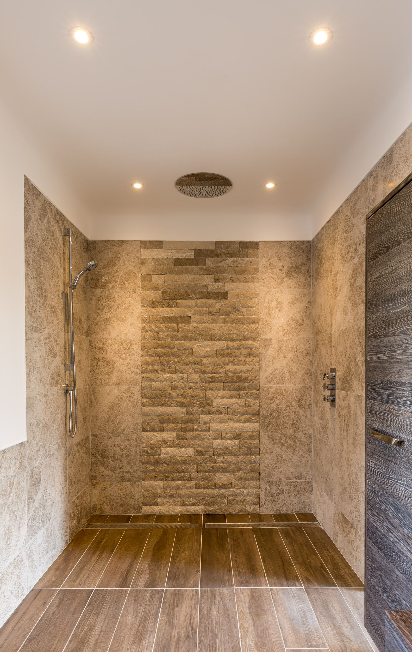 Rustic Walls Interior Large Contemporary Walk In Shower With Feature Rustic Stone Wall