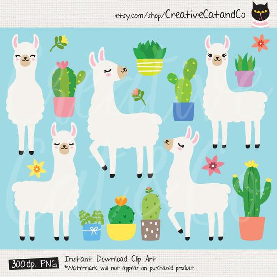 Plain Llama Clipart White Llama And Cacti Cute Alpaca Etsy In 2021 Llama Clipart Clip Art Baby Clip Art
