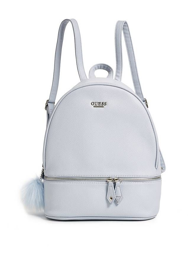 Guess Backpack in faux leather whit pon pon silver