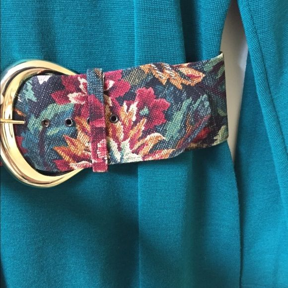 Stunning vintage belt 3 inch wide designer belt. Excellent condition. Bold floral pattern. Goes well with teal. Nava Belt New York Accessories Belts